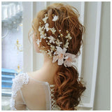 luxury gold hair grips pearl lace hair jewelry for women