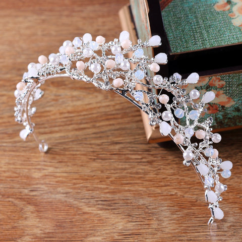pink crystal beads wedding tiara crown hair jewelry