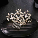 elegant white simulated pearl hair comb for women