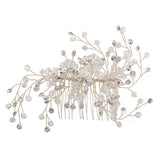 bridal wedding rhinestone pearl hair tiara