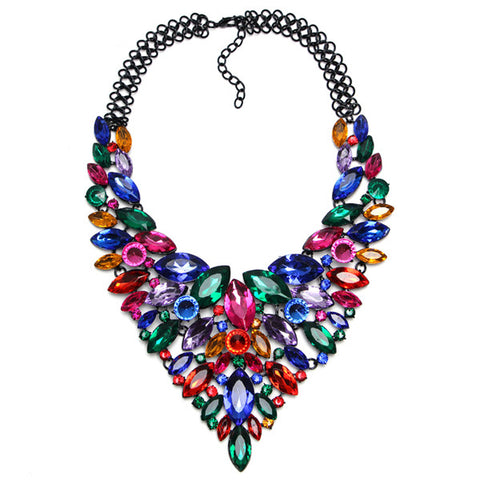luxury colorful crystal rhinestone statement necklace for women
