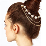 trendy gold color crystal simulated pearl flower hair clip