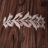 elegant rose gold color crystal leaves tiara headband hair jewelry