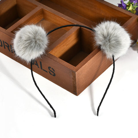 cute rabbit fur head band hair accrssories for women