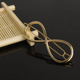 trendy gold color infinity shape hair pin for woman