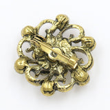 antique gold color crystal hollow flower brooch jewelry