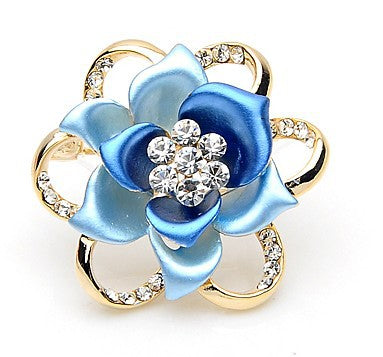 luxury rhinestone rose flower hollow brooch pin for women