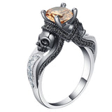 punk style skull shape cz stone ring for men