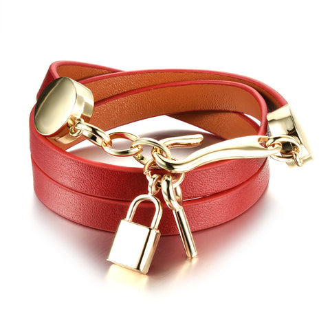 leather & stainless steel lock key pendant wrap bracelet