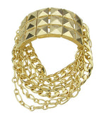 punk style gold color spikes chain bracelet and bangle