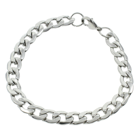 stainless steel silver hammered flat curb chain bracelet