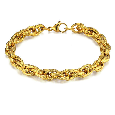 gold color stainless steel chain bracelet for men