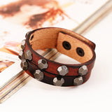 wide bangle leather punk style bracelet for men