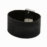 wide crystal magnetic clasp belt bangle bracelet