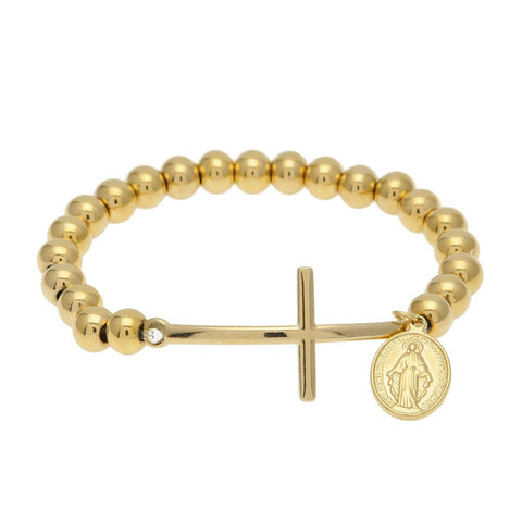 stainless steel beads & cross with virgin mary bracelet