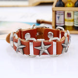 five pointed star cow leather punk bracelet