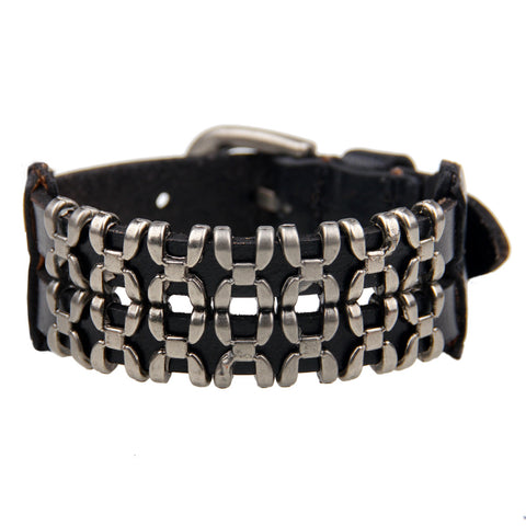 punk style wide leather belt bracelet