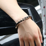 punk style handmade braided genuine cow leather cuff bracelet