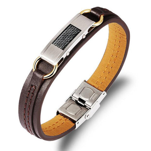 pu leather stainless steel punk bracelet for men
