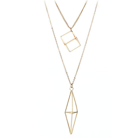 double layer hollow square & rhombus pendant necklace