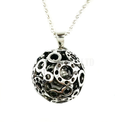 antique silver color hollow out ball pendant long necklace