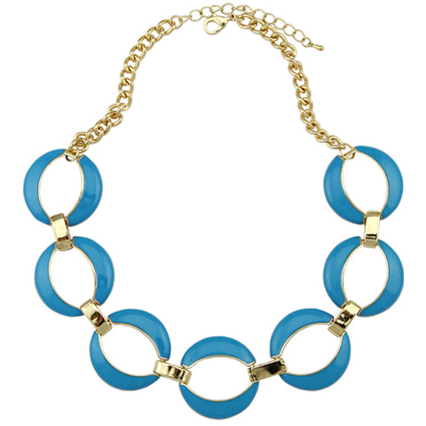 exaggerated blue enameling choker hoop link chain necklace