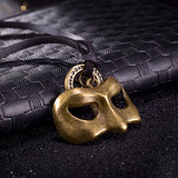 vintage mask pendant leather rope chain necklace