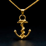 stainless steel anchor pendant cuban chain necklace