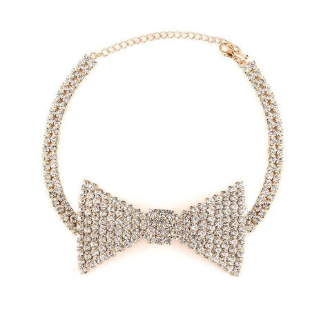 cute bowknot crystal chain pendant choker necklace