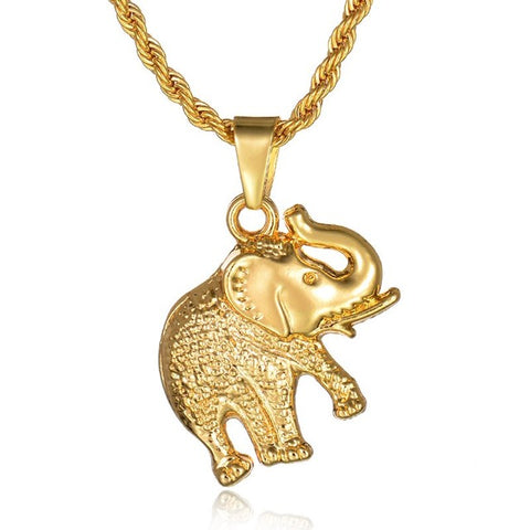 gold color stainless steel elephant pendant necklace