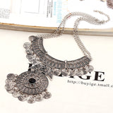bohemian double chain coin statement necklace