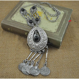 vintage silver color coin tassel long necklace & pendant