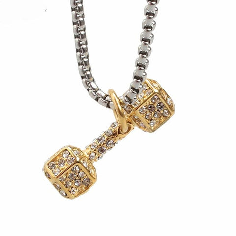 cubic zircon paved dumbbell stainless steel pendant necklace