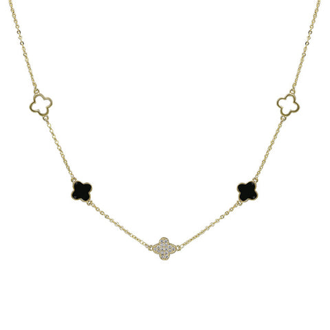 cubic zirconia clover design necklace for women