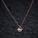 stainless steel flower cubic zircon pendant necklace