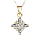 gold color cubic zircon celtic cross pendant necklace for women