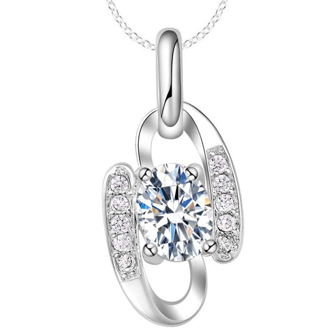 elegant silver plated crystal zircon pendant necklace for women