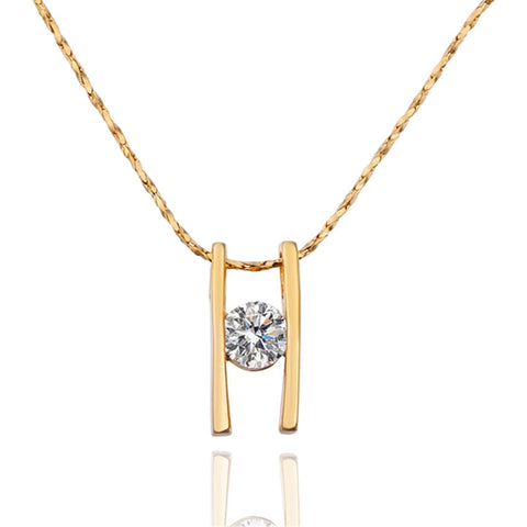 plated gold H shape with zircon pendant necklace for women