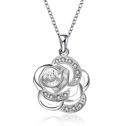 silver plated zircon flower pendant necklace for women