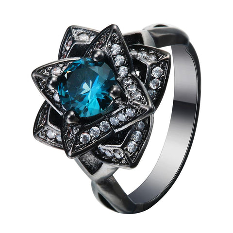 luxury blue cz crystal flower shape black color ring for women