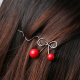 trendy red cherry shaped bowknot hair pin for women