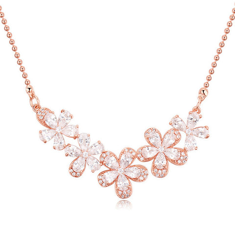 cubic zircon flowers choker necklace for women