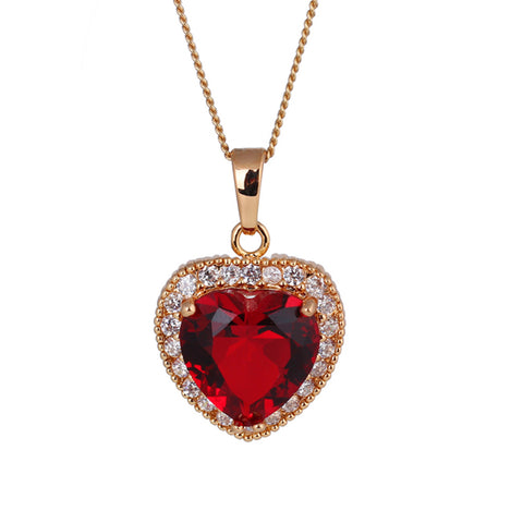 heart shape gold plating red zircon necklace for women