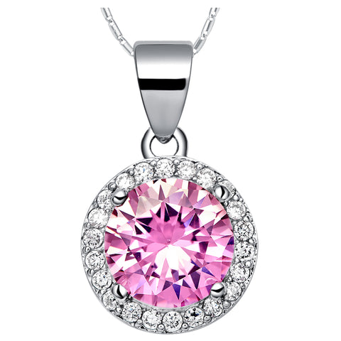 pink zircon with white crystal silver round pendant necklace