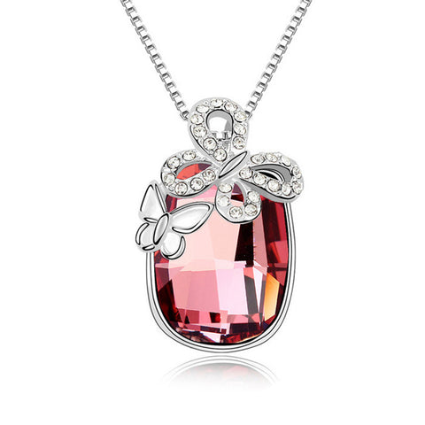 round crystal zircon butterfly pendant necklace for women