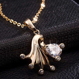 cute golden fish shape zircon pendant necklace