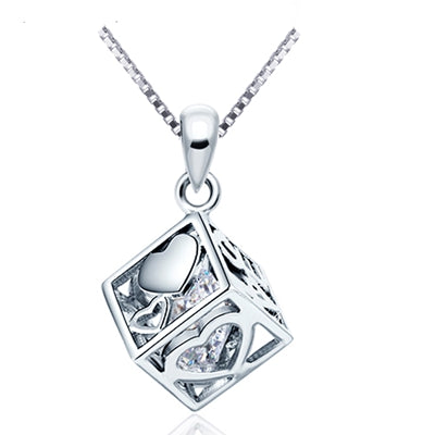 cube shape sterling silver austria zircon crystal charm necklace