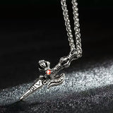 punk style stainless steel axe pendant necklace for men