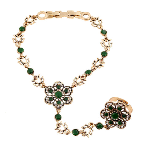 vintage hollow out flower slave bracelet for women
