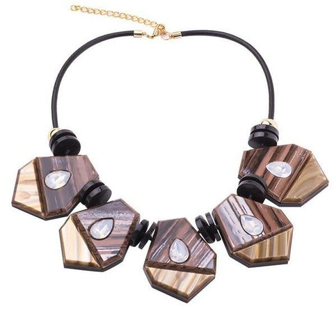 trendy geometric resin charms statement necklace for women